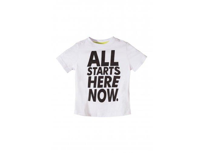 Chlapecké bílé tričko krátký rukáv s nápadným nápisem