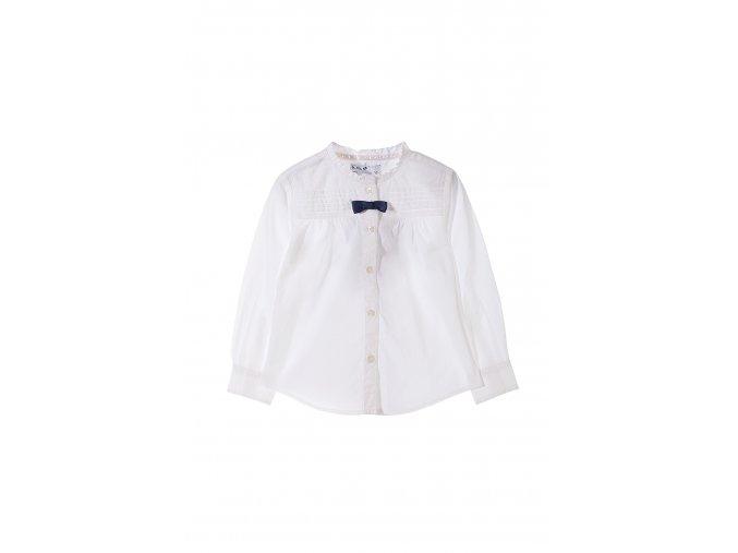 Dívčí bílá košilová halenka se stojáčkem