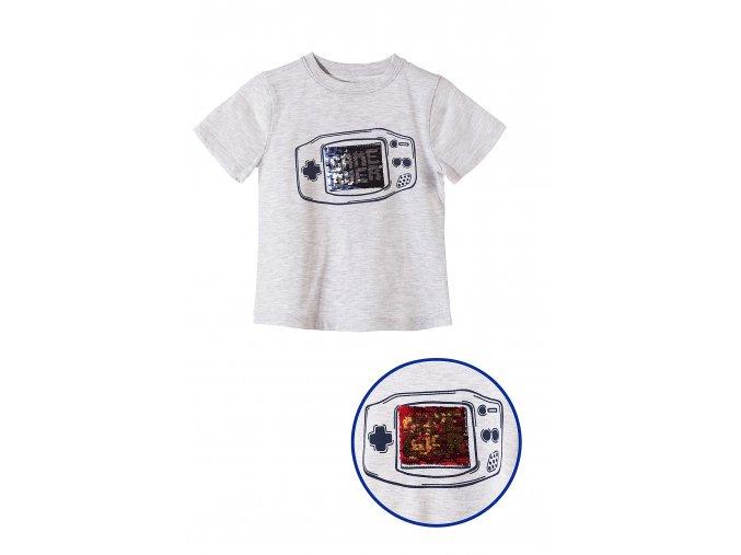 Chlapecké tričko krátký rukáv s potiskem a měnícími se flitry