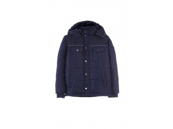 Chlapecká tmavě modrá zimní bunda s kapucí