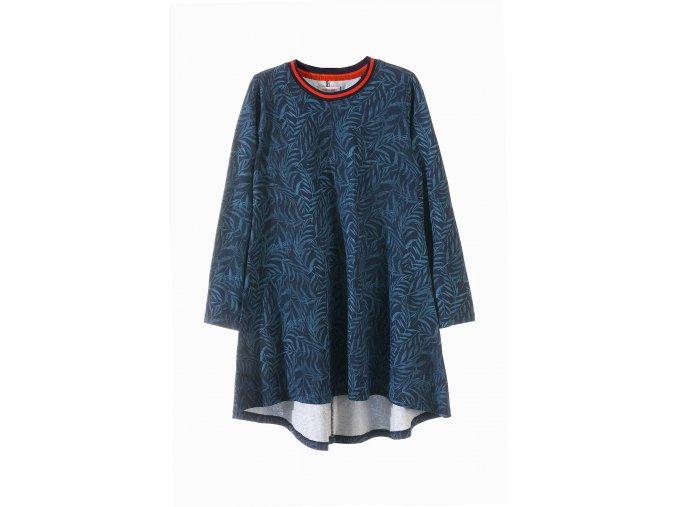 Dívčí šaty douhý rukáv s potiskem kapradin