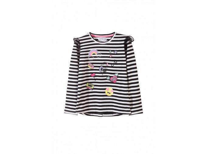 Dívčí tričko dlouhý rukáv s potiskem a volánky
