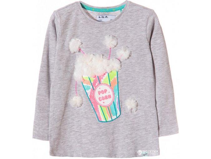 Dívčí tričko dlouhý rukáv s potiskem a 3D aplikací