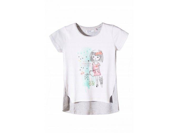 Dívčí bílo-šedé tričko krátký rukáv s potiskem