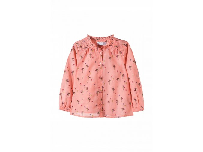 Dívčí košilová halenka s drobným stojáčkem
