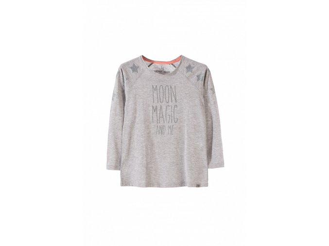 Dívčí šedé tričko dlouhý rukáv s nápisem