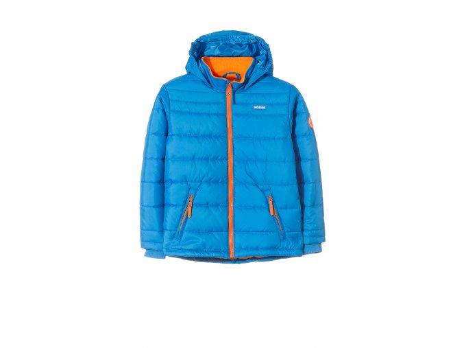 Chlapecká modrá zimní bunda s kapucí