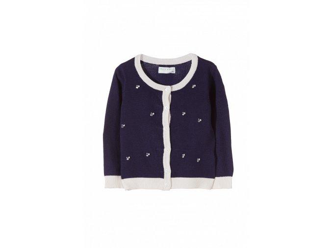 Dívčí svetr na knoflíky s perličkami