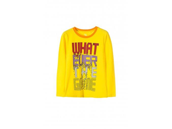Chlapecké tričko dlouhý rukáv žluté s nápisem