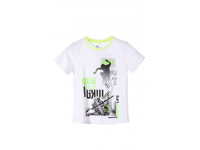 Bílé chlapecké tričko krátký rukáv s potiskem