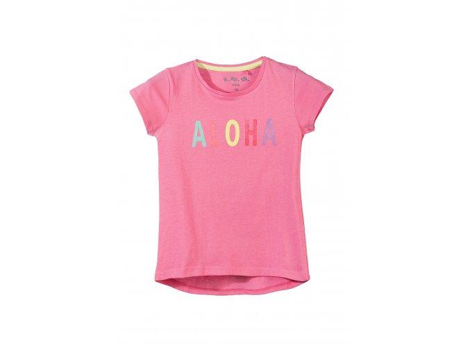 Dívčí růžové tričko krátký rukáv Aloha