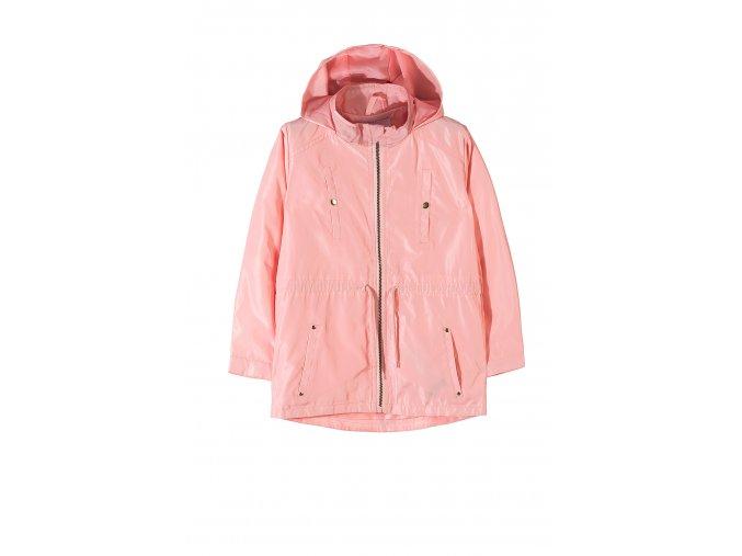 Dívčí růžová bunda parka s kapucí (větrovka)