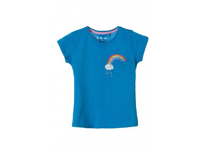 Dívčí tričko krátký rukáv s potiskem a kapsičkou