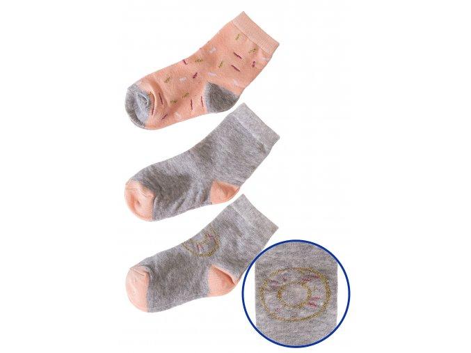 Dívčí šedo-lososové ponožky - 3 páry v balení