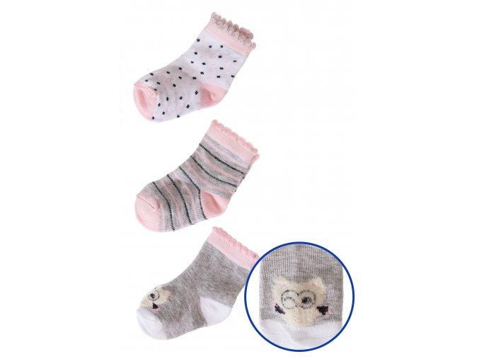 Kojenecké ponožky s ozdobným lemem - 3 páry