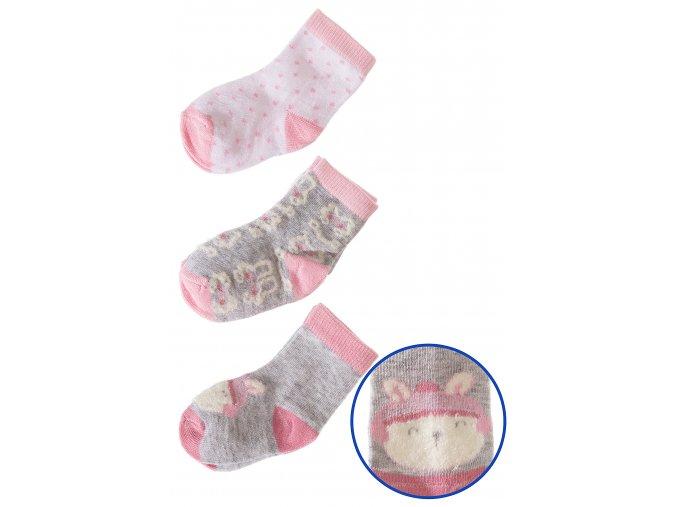 Kojenecké ponožky se zajíčky - 3 páry v balení