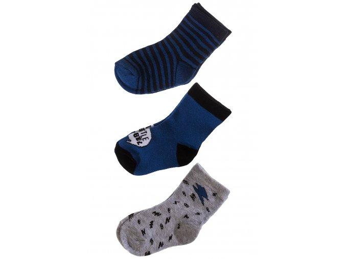 Kojenecké ponožky modro-šedá kombinace - 3 páry