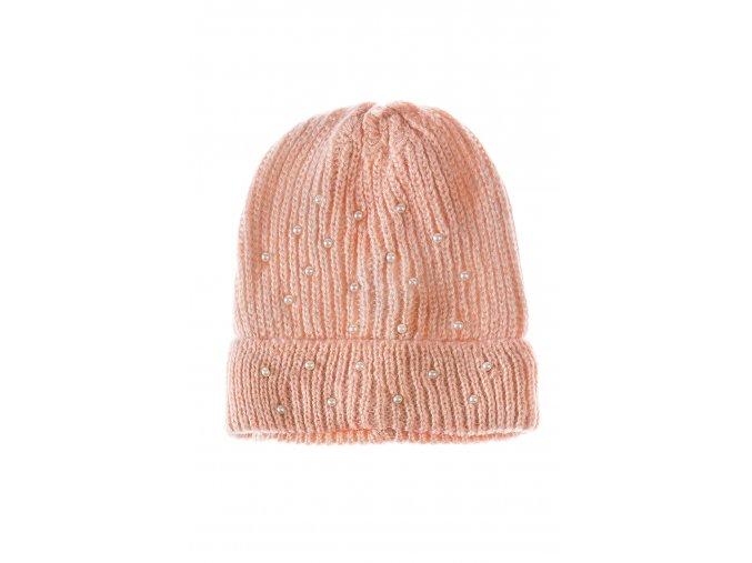 Dívčí pletená čepice s perličkami