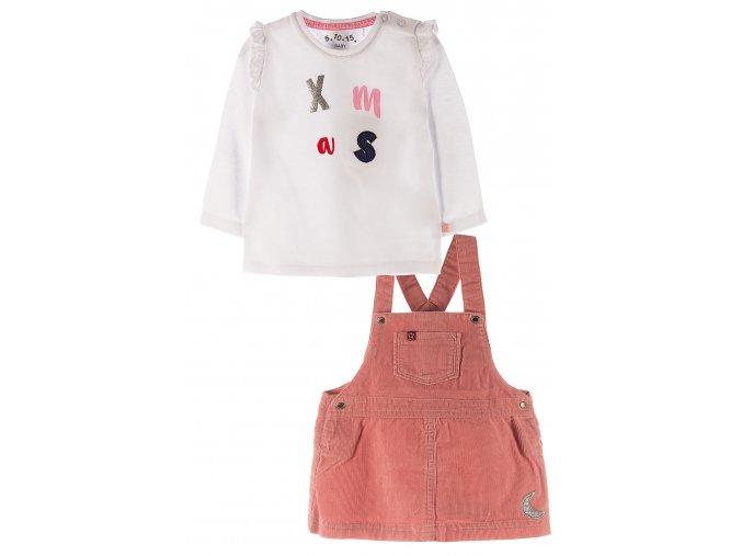 Kojenecký komplet - tričko dlouhý rukáv a sukýnka s laclem