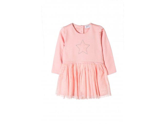 Kojenecké růžové šaty dlouhý rukáv s tylovou sukní