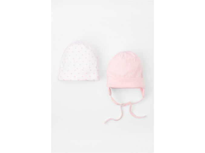 Růžovo-bílá kojenecká čepička - 2 kusy v balení