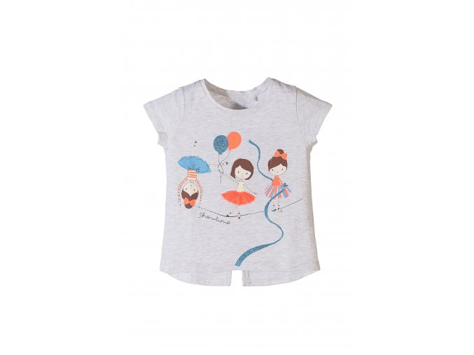 Dívčí tričko krátký rukáv s potiskem a aplikací
