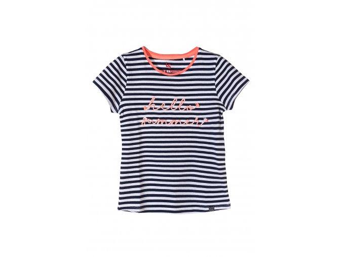 Dívčí proužkované tričko krátký rukáv s aplikací