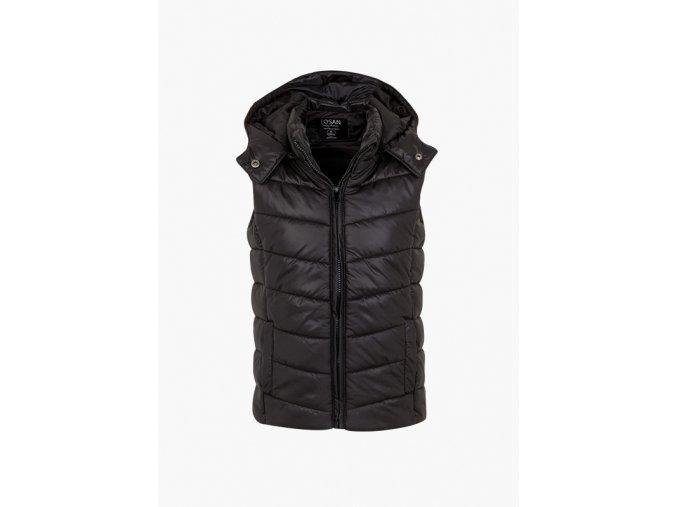 Dívčí zateplená vesta s odepínací kapucí