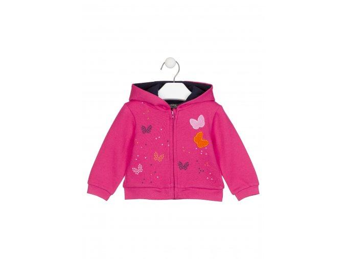 Kojenecká růžová mikina na zip s kapucí