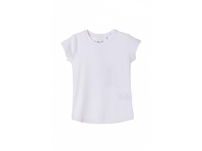 Dívčí jednobarevné bílé tričko krátký rukáv