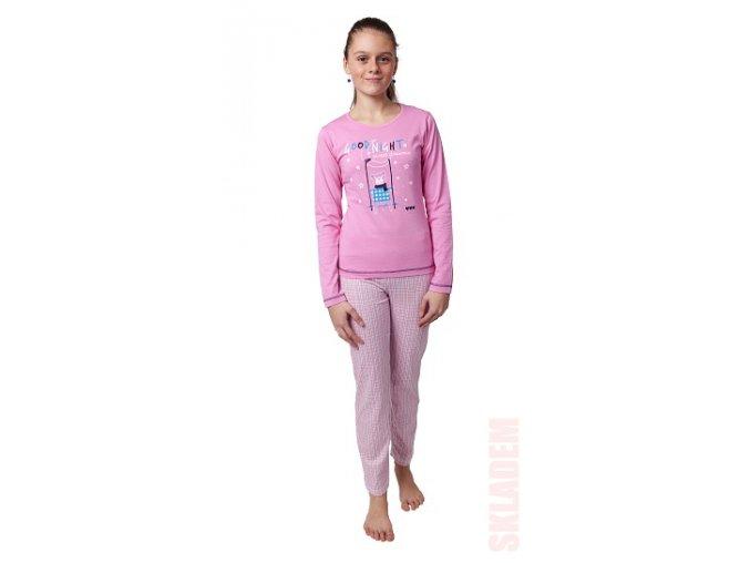 Dívčí bavlněné pyžamo dlouhý rukáv (různé barvy)