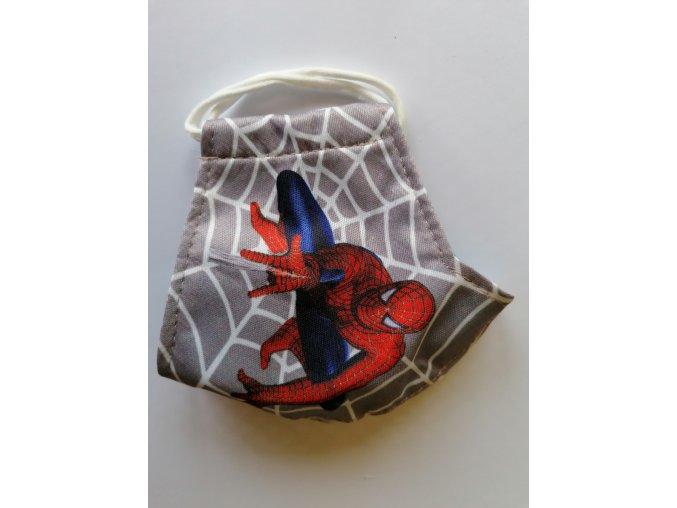 Dětská rouška dvouvrstvá s potiskem Spiderman s logem (menší velikost)