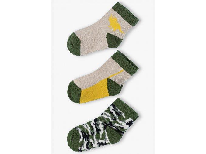 Chlapecké ponožky v khaki barvě - 3 páry v balení