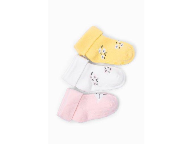 Kojenecké protiskluzové ponožky kytky - 3 páry