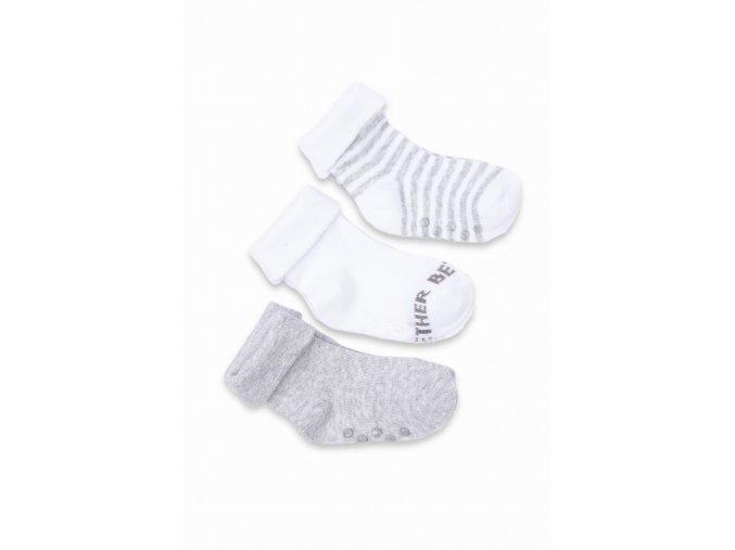 Kojenecké protiskluzové šedo-bílé ponožky - 3 páry