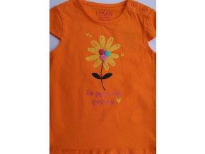 Kojenecké tričko krátký rukáv s 3D aplikací (oranžová nebo růžová barva)