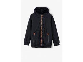 Chlapecká černá přechodová bunda s kapucí