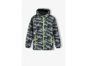Chlapecká přechodová bunda s kapucí s maskáčovým vzorem