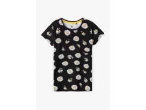 Dívčí tričko krátký rukáv s celoplošným potiskem kopretin