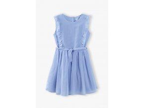 Dívčí romantické šaty s nařasenou sukní a podšívkou