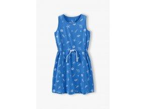Dívčí modré šaty s celoplošným potiskem