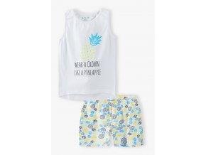 Dívčí pyžamo bez rukávů a krátké nohavice Ananas