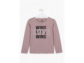Dívčí tričko dlouhý rukáv LOVE WINS (v růžové nebo černé barvě)