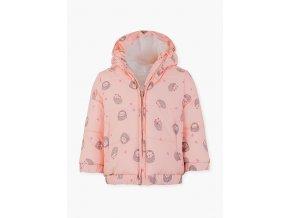 Kojenecká zimní růžová bunda s kapucí