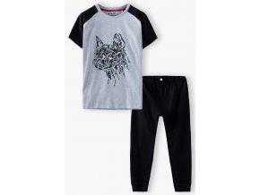 Chlapecké černo-šedé pyžamo krátký rukáv a dlouhé nohavice