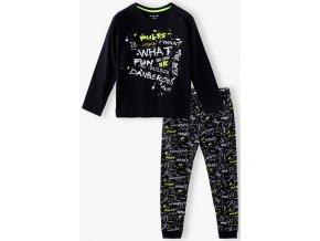 Chlapecké černé pyžamo dlouhý rukáv s nápisy