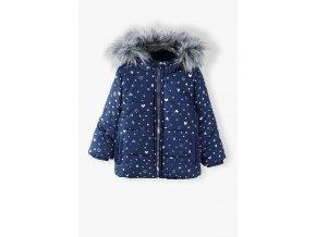 Dívčí zimní bunda s celoplošným potiskem a kožešinkou