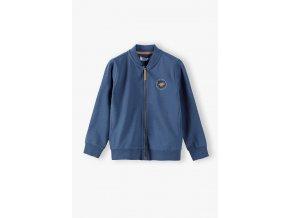 Chlapecká modrá mikina na zip bez kapuce