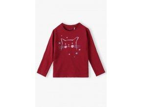 Dívčí červené tričko dlouhý rukáv Kočička