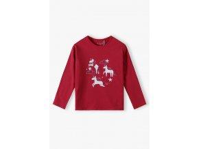Dívčí červené tričko dlouhý rukáv Jednorožci